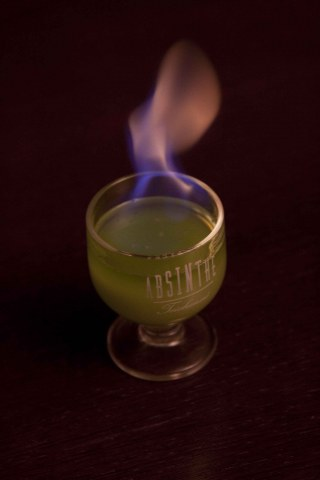 Flaming Green Fairy made with Absinthe