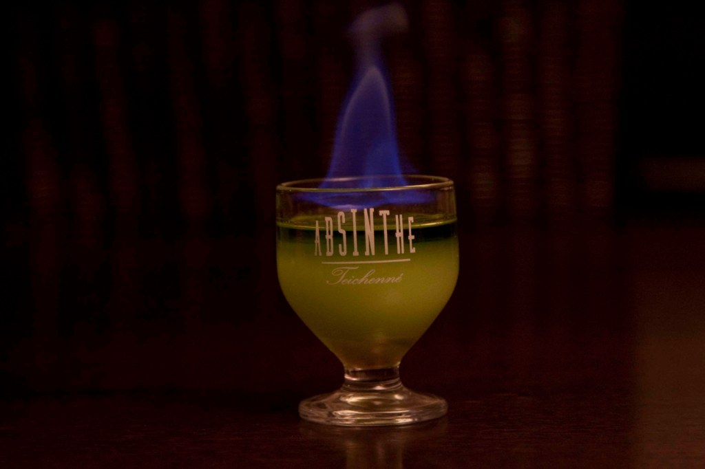 Glorious and sensual Flaming Green Fairy cocktail